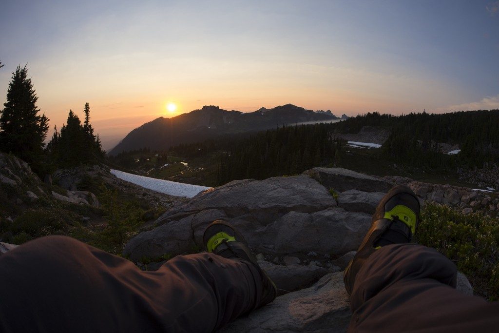 With views like this, the challenge of getting your August turns is completely worth it. Gazing at the sunset from Spray Park on Mount Rainier's north side with @hefe_steeleand @kellymsteele. After putting in roughly 6000 feet gain for the day, carrying a 60 pound pack, navigating down suncups and being swarmed by mosquitos, I have no complaints. Still left in awe by the PNW's beauty.